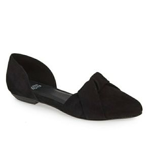Eileen Fisher d'Orsay black suede pointed flats